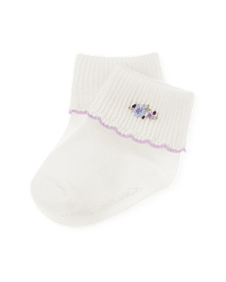 Jet Ivory Hand-Embroidered Floral Sock at JanieandJack