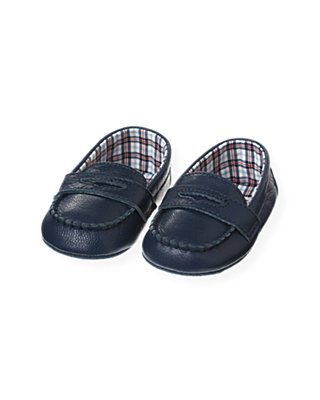 London Navy Leather Crib Loafer at JanieandJack