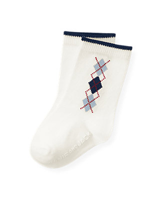 Jet Ivory Argyle Sock at JanieandJack