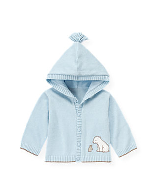Baby Boy Ice Blue Polar Bear Hooded Cardigan at JanieandJack