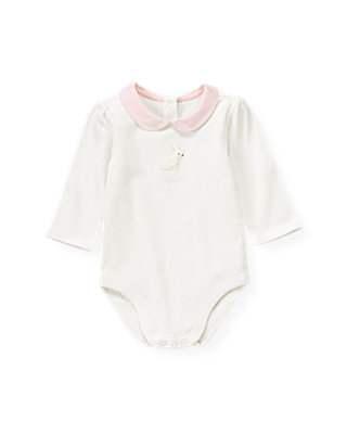 Baby Girl Jet Ivory Snow Bunny Collar Bodysuit at JanieandJack