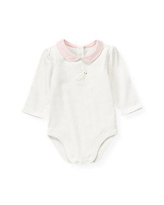 Baby Girl Jet Ivory Snow Bunny Collar Bodysuit at JanieandJack