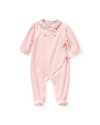 Baby Girl Ice Pink Snow Bunny Velour One-Piece at JanieandJack