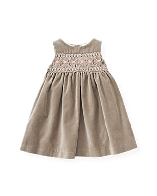 Baby Girl Polar Brown Hand-Smocked Velveteen Jumper at JanieandJack