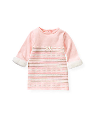 Baby Girl Ice Pink Fair Isle Sweater Dress at JanieandJack
