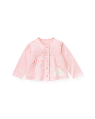 Baby Girl Ice Pink Snow Bunny Cardigan at JanieandJack