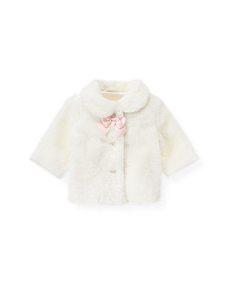 Baby Girl Jet Ivory Faux Fur Coat at JanieandJack