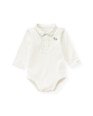 Baby Boy Jet Ivory Double Button Polo Bodysuit at JanieandJack