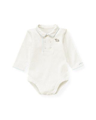 Baby Boy Jet Ivory Double Button Polo Bodysuit at JanieandJack