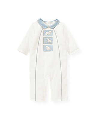 Baby Boy Jet Ivory Polar Bear Padded One-Piece at JanieandJack