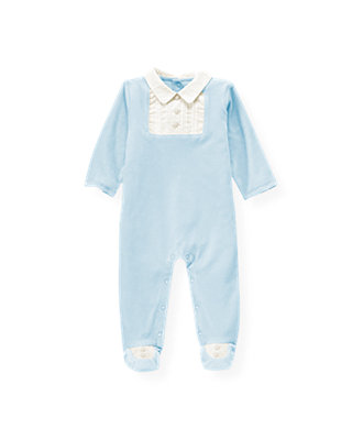Baby Boy Ice Blue Pintucked Bib Velour One-Piece at JanieandJack