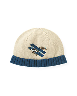 Boys Antique Ivory Airplane Sweater Hat at JanieandJack