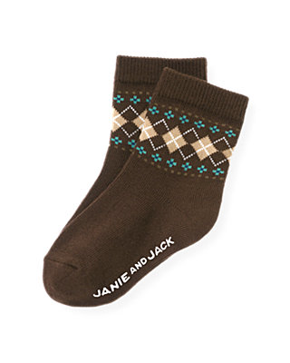 Boys Autumn Brown Argyle Sock at JanieandJack