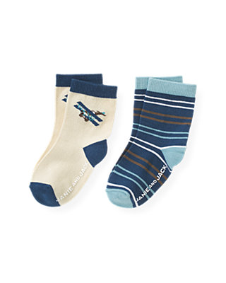 Boys Antique Ivory/Propeller Blue Stripe Airplane Stripe Sock Two-Pack at JanieandJack