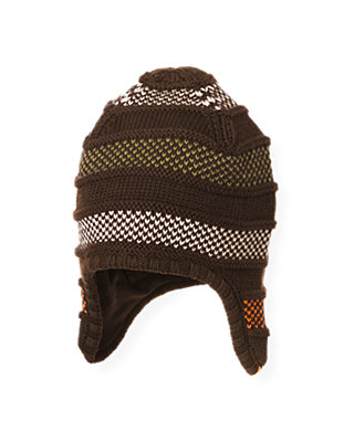 Boys Harvest Brown Stripe Stripe Earflap Hat at JanieandJack