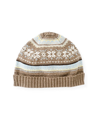 Baby Boy Polar Brown Fair Isle Sweater Beanie at JanieandJack