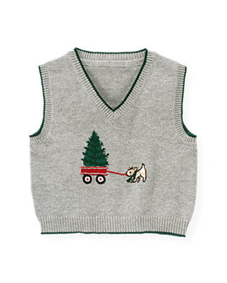 Baby Boy Heather Grey Holiday Tree Sweater Vest at JanieandJack