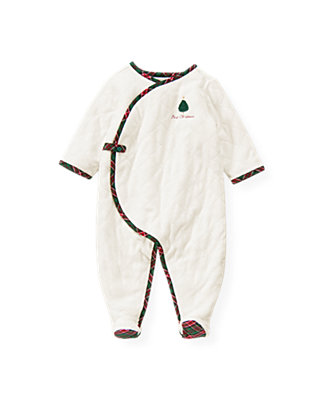 Baby Girl Jet Ivory First Christmas Quilted Velour One-Piece at JanieandJack