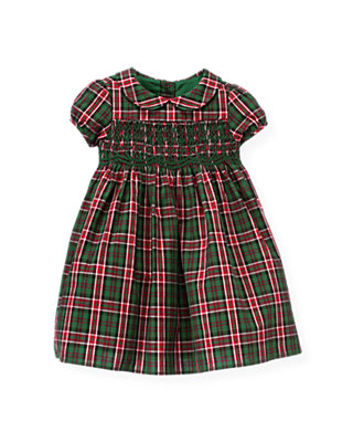 Baby Girl Pine Green Check Hand-Smocked Plaid Dress at JanieandJack