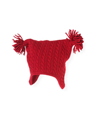 Baby Boy Holiday Red Cable Sweater Hat at JanieandJack