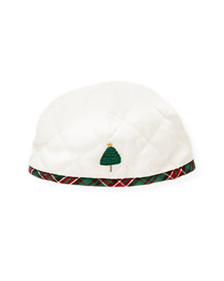 Baby Boy Jet Ivory Tree Quilted Velour Beanie at JanieandJack