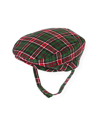 Baby Boy Pine Green Check Plaid Cap at JanieandJack