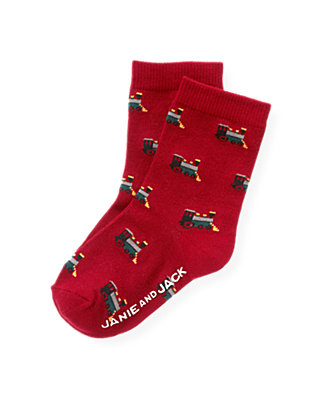 Boys Holiday Red Train Sock at JanieandJack