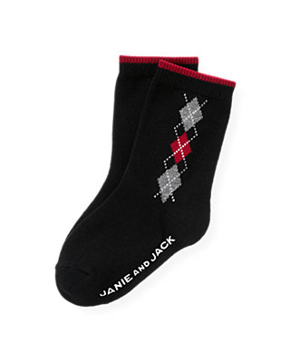 Boys Black Argyle Sock at JanieandJack