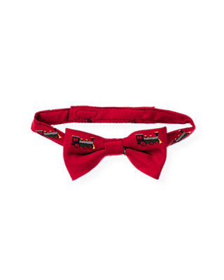 Boys Holiday Red Train Bowtie at JanieandJack