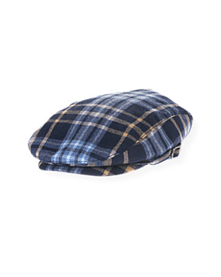 Boys Classic Navy Plaid Glen Plaid Wool Cap at JanieandJack