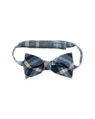Boys Classic Navy Plaid Glen Plaid Wool Bowtie at JanieandJack