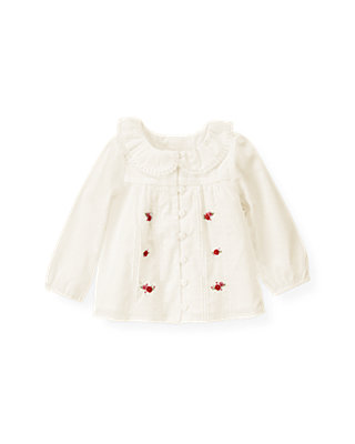 Layette Jet Ivory Hand-Embroidered Rosette Top at JanieandJack