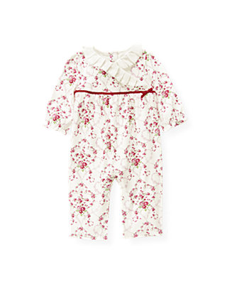 Ivory Vine Floral Rose Floral Kimono One-Piece at JanieandJack