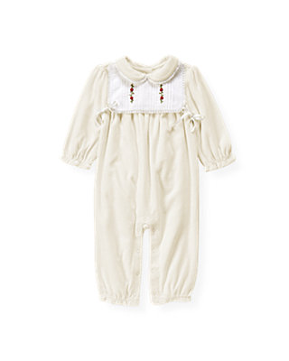 Jet Ivory Lace Bib Velour One-Piece at JanieandJack
