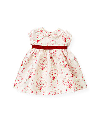 Ivory Vine Floral Rose Floral Silk Dress at JanieandJack