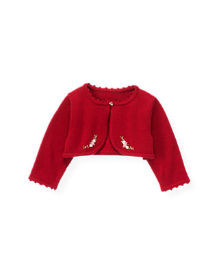 Baby Girl Holiday Red Hand-Embroidered Rosette Crop Cardigan at JanieandJack