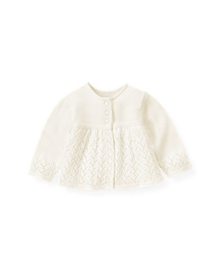 Jet Ivory Pointelle Cardigan at JanieandJack