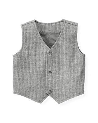 Heather Grey Stripe Pinstripe Suit Vest at JanieandJack