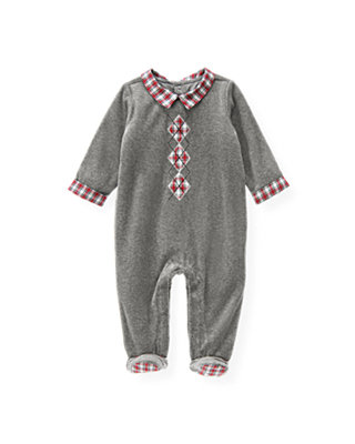 Heather Grey Argyle Velour Footed One-Piece at JanieandJack