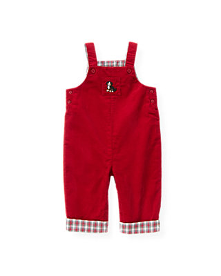 Holiday Red Puppy Corduroy Overall at JanieandJack