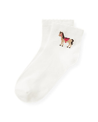 Jet Ivory Horse Scalloped Sock at JanieandJack