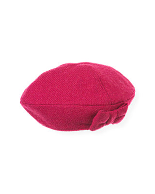 Raspberry Pink Bow Tweed Beret at JanieandJack