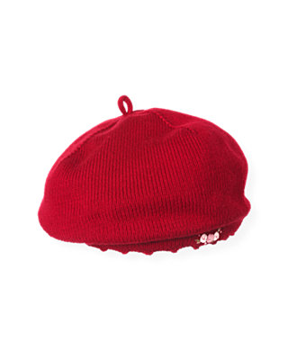Holiday Red Rosette Sweater Beret at JanieandJack