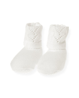 Layette Jet Ivory Pointelle Sweater Bootie at JanieandJack