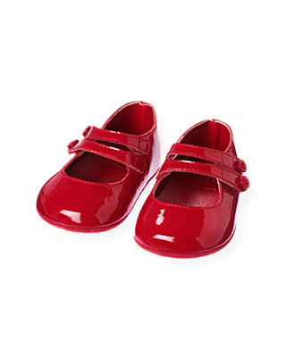 Baby Girl Holiday Red Patent Leather Crib Shoe at JanieandJack
