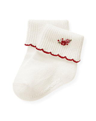 Jet Ivory Hand-Embroidered Rosette Sock at JanieandJack