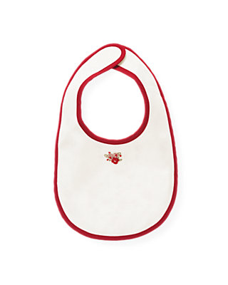 Jet Ivory Hand-Embroidered Rosette Bib at JanieandJack