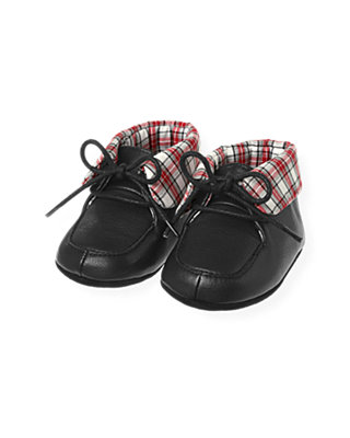 Black Plaid Cuffed Leather Crib Bootie at JanieandJack
