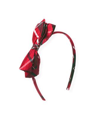 Holiday Red Plaid Bow Silk Plaid Headband at JanieandJack