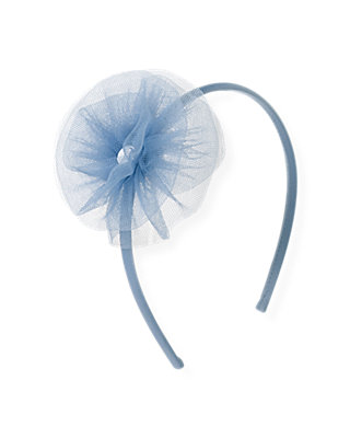 Winter Blue Tulle Rosette Headband at JanieandJack